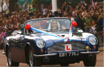Driving away in Prince Charles' Aston Martin Volante