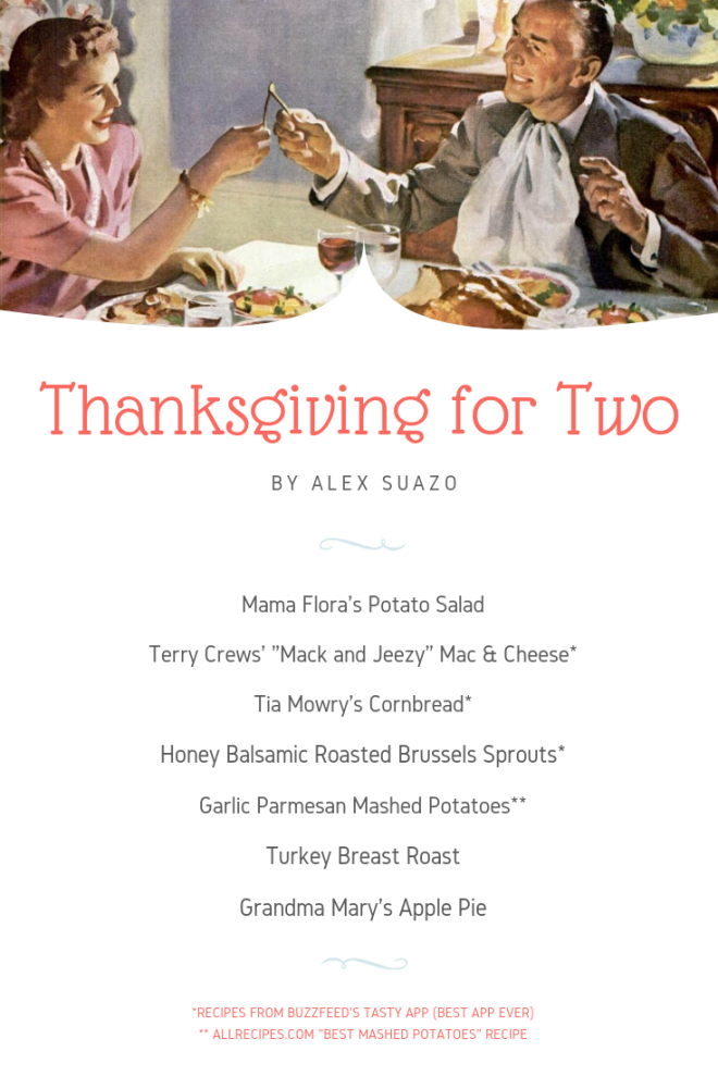 2018 Thanksgiving for Two Menu